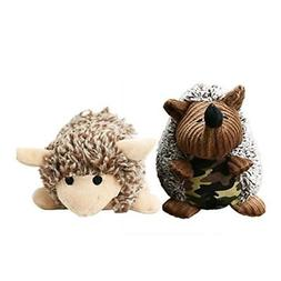 Stock Show 2Pcs Dog Squeaky Toy Stuffed Plush Hedgehog Shape