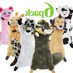 SHARLOVY Dog Squeaky Toys No Stuffing, 6 Pack Dog Toys Crink