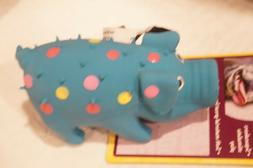 """MULTIPET DOG TOY DOG   GLOBKEN PIG LATEX    BLUE  4""""  WITH S"""