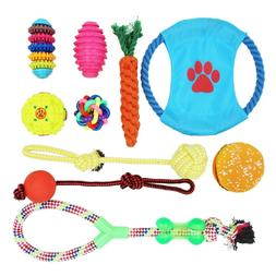 10 Pack Dog Toy Set Ball Rope and Chew Squeaky Toys for Smal