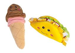 ZippyPaws Dog Toy Taco and Ice Cream Cone With Squeakers
