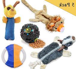 LOOBANI Dog Toys 5 Set丨 Plush Squeaky Toy Stuffed, Durable