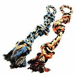 Dog Toys for Aggressive Chewers - Set of 2 XL Dog Rope Toy f