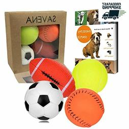 Dog Toys For Aggressive Chewers Tough Pet Ball Toy Set of 4