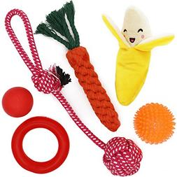 Small Dog Toys Set 6 Pack Ball Rope and Chew Toys for Small