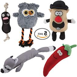 DAWGEEE Dog Toys Value 5 Pack for Puppy, Small Dogs and Medi
