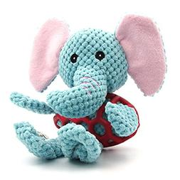 EETOYS Elephant Plush Pet Toys,Squeaky Toys with Chew Guard