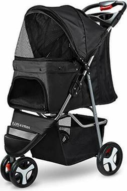 OxGord Elite Jogger Pet Stroller 3-Wheel Easy Walk Folding T
