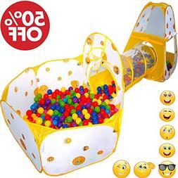 Playz 7pc Kids Playhouse Pop Up Play Tent Crawl Tunnel & Bal