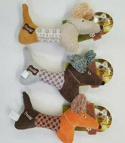 """Fancy Dog 14"""" Squeaking Dog Toys In 3 Tough Corduroy/Plaid D"""