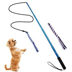ANG Flirt Pole,Extendable Dog Teaser Wand with 2 Replacement