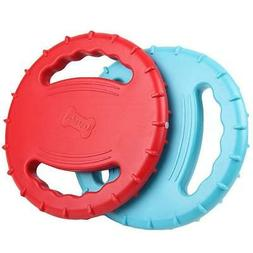 Legendog 2 Pcs Flying Disc, Squeaky Rubber Dog Toys Soft Flo