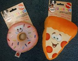Fun Food Plush Dog Toys - Pizza or Donut for Small and Mediu