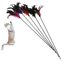 Fun Kitten Toy Cat Feather Bell Wand Teaser  Rod Bead Play P