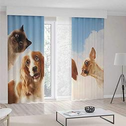 Funny Blackout Curtains,Cat and Dogs Domestic Home Pets Frie