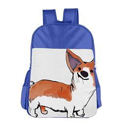 Funny Corgi Pet Dog Adjustable Children's School Backpacks B