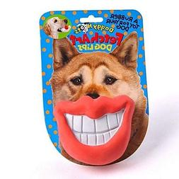 QINF Funny Lip Shaped Rubber Chewing Toys for Dogs
