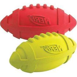 """Nerf Dog G8942 Nerf Squeaker Football 7"""" 2/Pkg-Red & Green"""