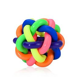 Petacc Giggle Ball Dog Toy Colorful Dog Ball with Bell Pet B
