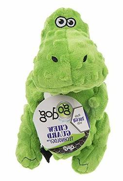 goDog Dinos T-Rex Tough Plush Dog Toy with Chew Guard Techno