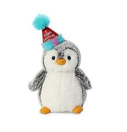 9 Inch Gray Happy Birthday Pompom Penguin Plush Stuffed Anim