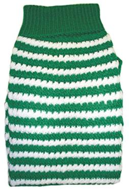 Amazing Pet Products Green W/ White Stripe Dog Sweater Size