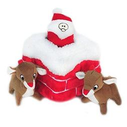 ZippyPaws Holiday Chimney Burrow Squeaky Plush Hide and Seek