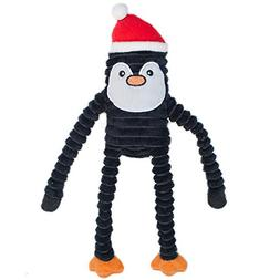 ZippyPaws Holiday Crinkle Squeaky Penguin Plush Dog Toy, Sma