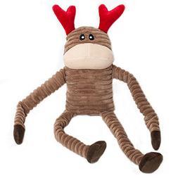 ZippyPaws Holiday Crinkle Squeaky Reindeer Plush Dog Toy, La