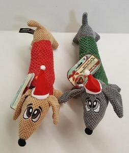 Holiday Dachshund Plush Popcorn Squeaking Dog Toys In 2 Colo