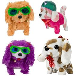 Pack of 4 Holiday Toys Adorable Dog Puppy Battery Operated W