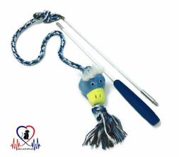 Indoor Outdoor Wand Rope Interactive Dog Toys Extendable Fli
