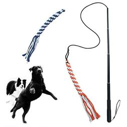 ASOCEA Interactive Dog Extendable Teaser Wand with 2 Rope Ch