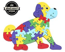 Jigsaw Puzzle, Cafurty Wooden Dog Alphabet Letters Numbers J