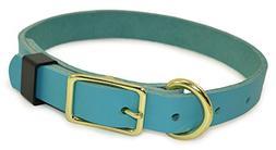 J&J Dog Supplies JJ316-TEA Leather Dog Collar, Teal, Adjusta