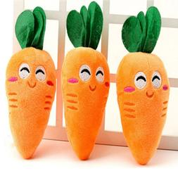 Kawaii Puppy Pet Supplies Carrot Plush Chew Squeaker Dog Toy