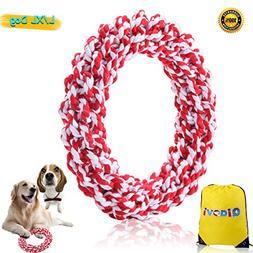Qiaovi L/XL Dog Rope Toys, 100% Cotton Indestructible Big Do
