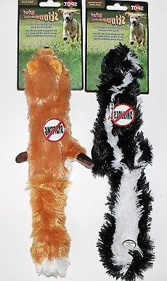 "CLEARANCE!!  2 Mini Skinneeez Stuffing Free 14"" Dog Toys Sku"