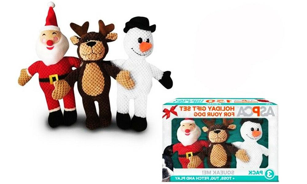 3-Pack Puppy Squeaker Plush Chew Squeaky
