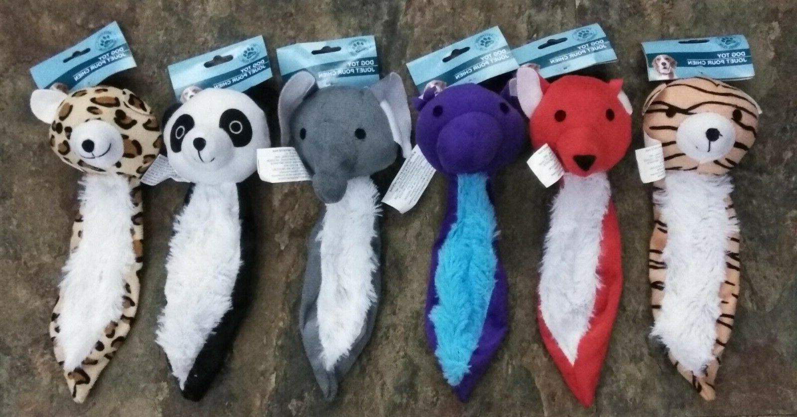 """New Type of Flat Plush 7"""" Squeaky Dog Puppy Toys Lot of 3 -"""