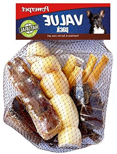 Powerpet: Value Pack - Natural Dog Chews - Helps Improve Dental Hygiene -  100% Natural & Highly Digestible - Protein with Low Fat - Smoked Beef Bone  -