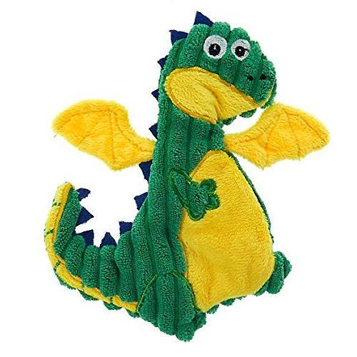 TOP PAW Green & Yellow Dragon Crinkle, Squeaker Flattie Dog