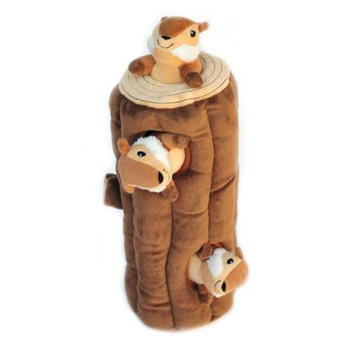 ZippyPaws Woodland Friends Burrow, Interactive and Toy Chipmunks Log