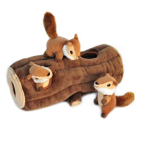 Burrow, Squeaky and Seek Dog Toy Log
