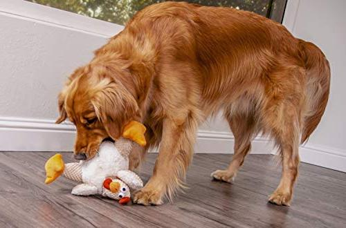 goDog Checkers Rooster With Chew Tough Dog Toy, White, Large