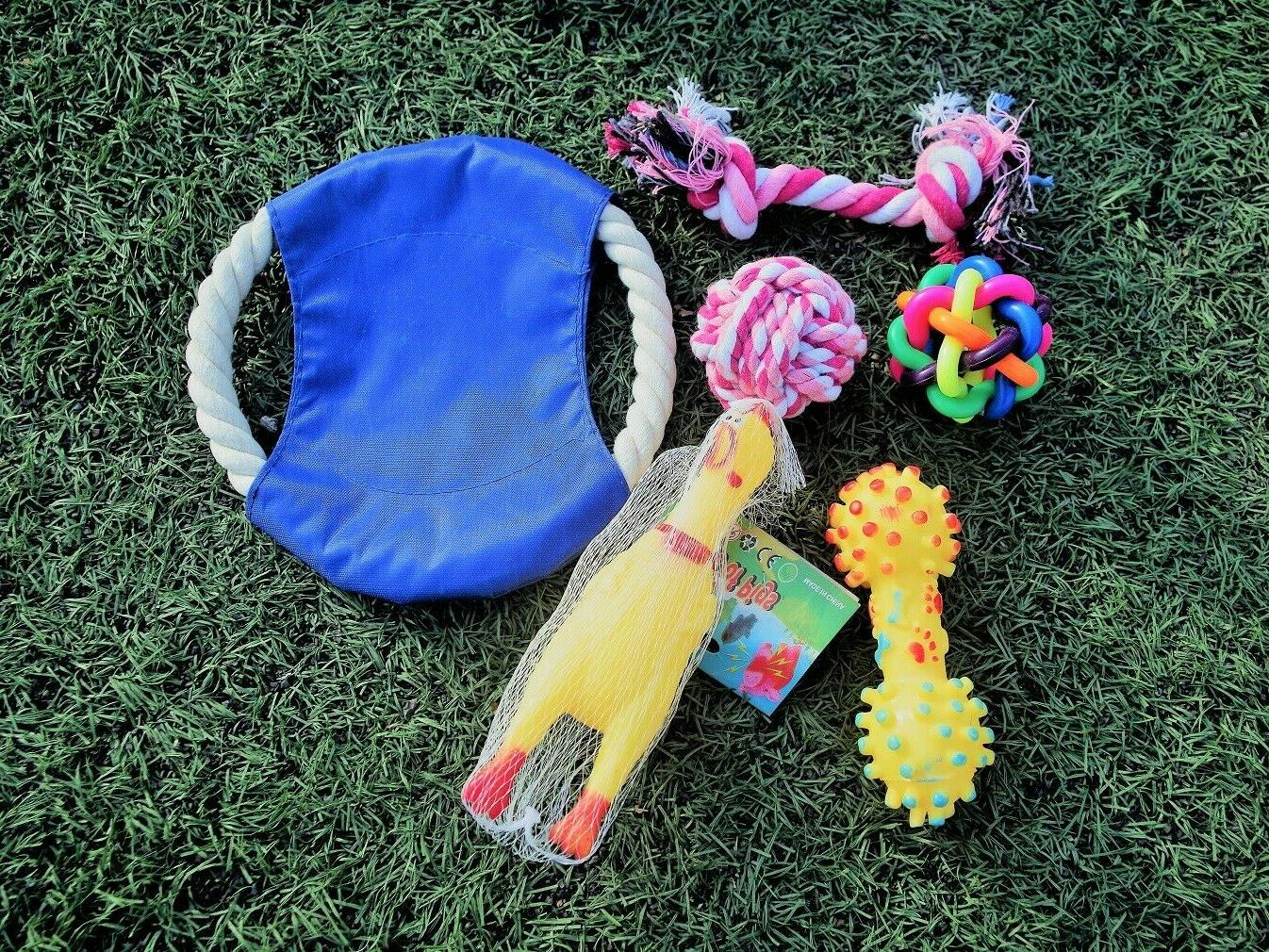 Chew and Squeaky Toys Puppy and Dog. 6 pcs inside