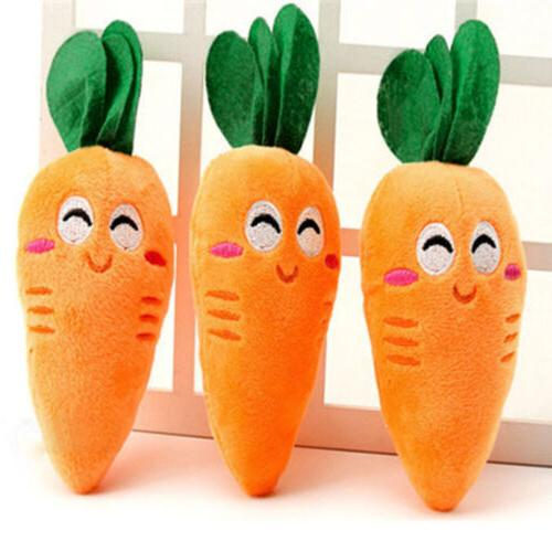 Cute Puppy Pet Supplies Carrot Plush Chew Squeaker Sound Squ