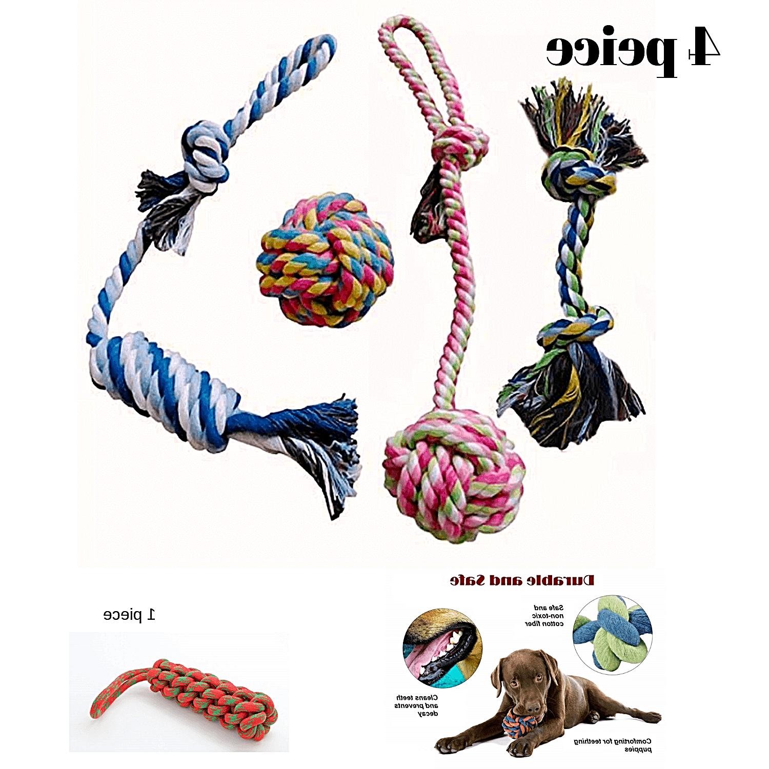 dog rope chew teething toys play knots