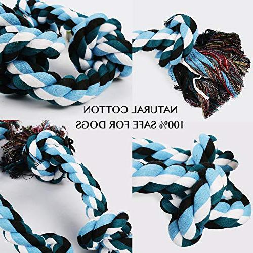 BLUEISLAND Dog Rope Aggressive Tough Chew Dog 3 Knots Indestructible Cotton Large Tug War Dog Cleaning