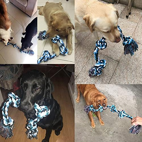 BLUEISLAND Dog Rope Aggressive Chew Toys Large Dog 3 5 Knots Large Dog War Dog Teeth Cleaning